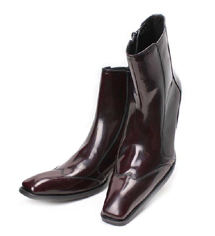 [ミスターハンサム] WOLF VALLEY メンズ パー レザー ブーツ ビジネスブーツ ミドルブーツ 本革 紳士靴 エンジニア サイドジップ ハイヒール ウイングチップ ドレスシューズ マーティンブーツ ショートブーツ(ワイン) 8803-20