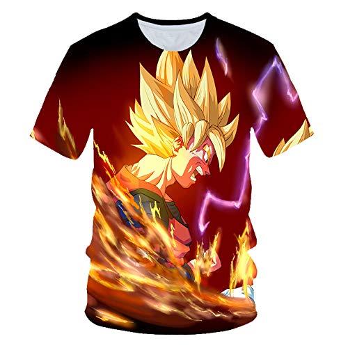 TJJF Camiseta Hombre Summer Top Super Son Goku Camisetas Divertidas Anime Vegeta Dragon Camiseta Summer Cartoon Print Tops