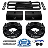 Supreme Suspensions - Full Lift Kit for 2007-2020 Chevrolet Silverado & GMC Sierra 1500 3' Front Lift Strut Spacers + 3' Rear Lift Tapered Blocks + Square Bend U-Bolts 2WD 4WD (Black)