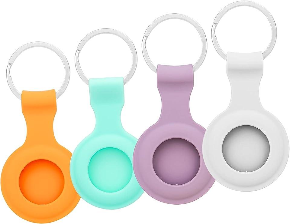 4er Pack mit Schlüsselbund Ring Designed Soft Silicone Airtags Hülle,Sicherheit und Anti-Lost,Kratzfeste Schutzhaut für Autoschlüssel-Haustierhalsband, leicht zu tragen (Blau+Orange+Lila+Weiß)