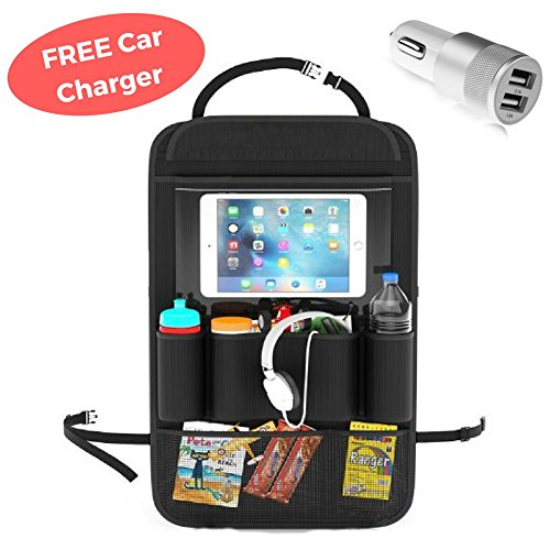 ATEKKI Car Backseat Organizer with Tablet iPad Holder, Universal for Kids Toddlers Large Storage Compartments, Pockets for Bottles Snacks Toys, Strong Buckles, Kick Mat Seat Back Protector Car Charger