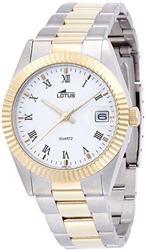 LOTUS Reloj Modelo 15197/1 de la colección Excellent, Caja de 37,5 mm Blanco con Correa de Acero Bicolor para Caballero