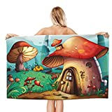 Cartoon Red Mushroom House Forest Beach Towel for Adults, Absorbent Portable Blanket Soft Bath Towels for Beach Pool Spa Gym Travel