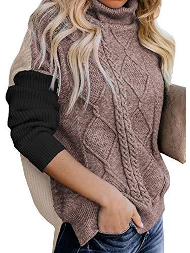 ASALWAYS vrouwen kabel gebreide trui coltrui lange mouwen jumpers kleur blok oversized casual trui