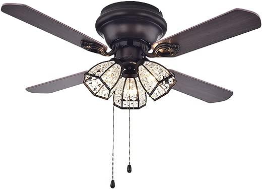 ✅Warehouse of Tiffany CFL-8173AB Tarudor Dark Wood Antique Bronze Crystal Fan #Lighting & Ceiling Fans
