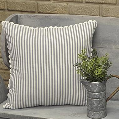 Piper Classics Farmhouse Ticking Stripe Pillow Cover, Blue, 18  x 18 , Decor Accent w/Rick Rack