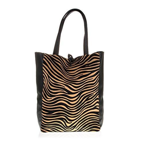Firenze Artegiani Bolso Shopping Bag De Mujer Piel Auténtica, Motivo Tigre Borsa Messenger, 40 cm, Multicolore (Tigre)