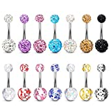 Hanpabum 12-14pcs 14G Surgical Steel Belly Button Rings CZ Navel Barbell Stud Body Piercing Jewelry