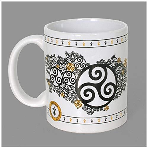Les Trésors De Lily [A1145 - Mug céramique 'Triskel' Noir Blanc - 9.5x8 cm