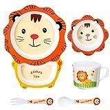NUOBESTY 5 Stück Kindergeschirr-Sets Bambus Löwenform Kleinkind ESS-Set mit Teller Schüssel Tasse Gabel Löffel für Kinder Kleinkind Tier Brithday Party Liefert Gefälligkeiten