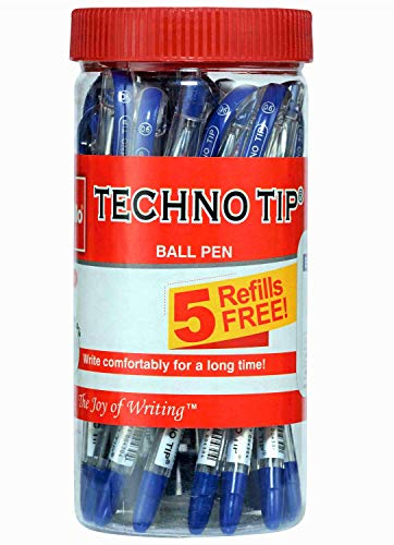 Cello Technotip Ball Pen Jar (Pack of 20 pens in Blue ink with 5 free Blue refills) |Fine writing ball pens | Exam Pens|School & Office Stationery|Ideal for Studying at Home