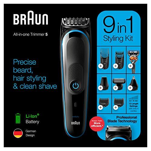Braun 9-i-1 Allt-i-ett-trimmer 5 MGK5280, Skäggtrimmer för män, hårklippare och kroppstrimmer med AutoSensing-teknik och 7 tillbehör, Black/Blue