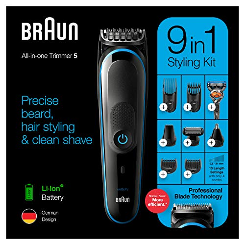 Braun 9-in-1 All-in-one Trimmer 5 MGK5280, Beard Trimmer for Men, Hair Clipper and Body Groomer with Autosensing Technology, 13 length settings, 100 min run time and 7 Attachments, Black/Blue