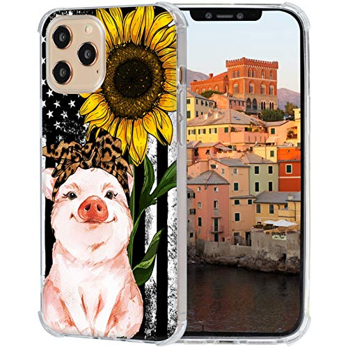 iPhone 12 Pro Max Case,American Flag Sunflower Leopard Headband Pig Case for iPhone 12 Pro Max Soft Slim Sillicone TPU Scratch-Resistant Protective Cover Case Compatible with iPhone 12 Pro Max