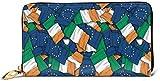 Cartera de cuero con diseño de bandera de Irlanda para mujer con bloqueo RFID y cremallera alrededor de la cartera de cuero genuino para el embrague de la tarjeta, bolso de viaje