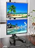 EZM Heavy-Duty Vertical Dual LCD Monitor Mount Stand Freestanding with Grommet Mount Option up to 27' (002-0014)