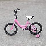 DIFU Bicicleta infantil de 16 pulgadas con rueda auxiliar, bicicleta para niños y niñas, aleación de carbono