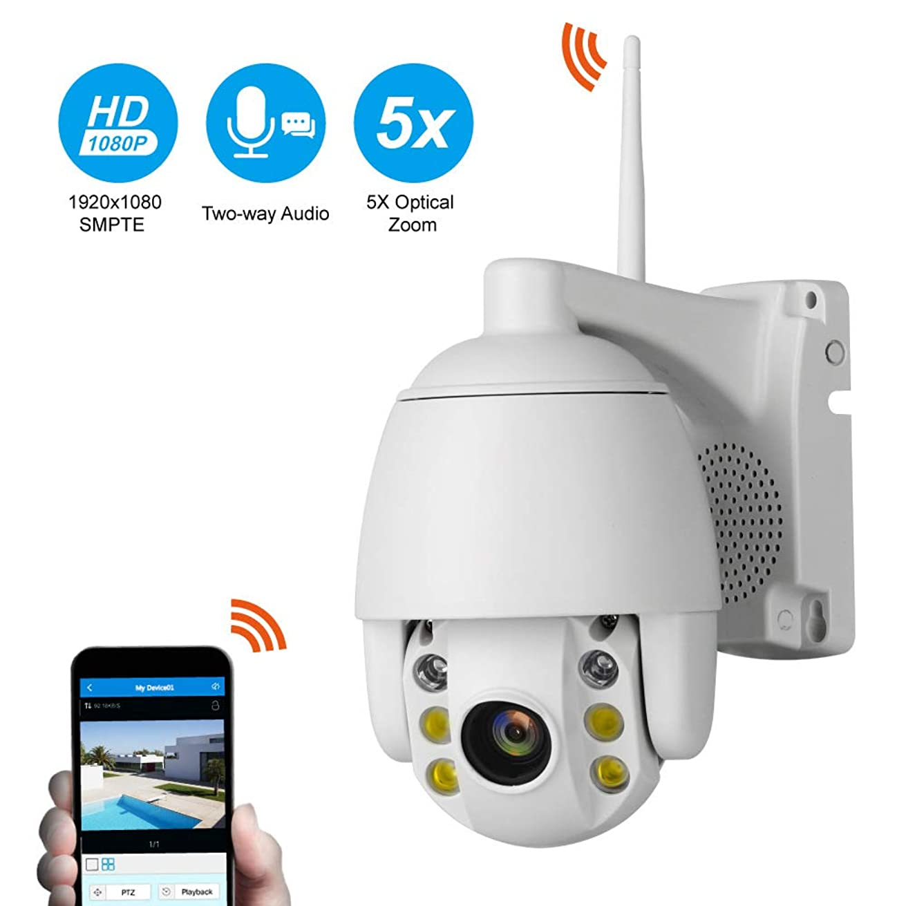GOUP WiFi Webcam, 2 Million HD Infrared, 5X Zoom with 16G Memory Card, Monitoring System Indoor and Outdoor Control Monitor, WiFi Remote Camera
