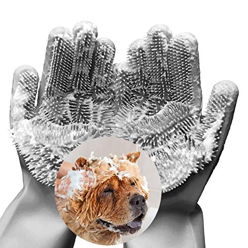 FecPecu Pet Grooming Gloves, Dog Bathing Shampoo Gloves with High Density Teeth, Silicone Hair Removal Gloves with Enhanced Five Finger Design for Dogs, Cats (Gray)