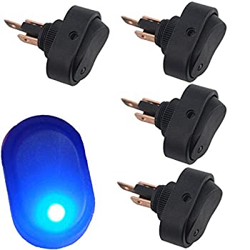 12V 30A Waterproof LED Light On/Off Car Boat Marine Auto Motorcycle 3P Rocker SPST Toggle Switch,Pack of 4  Blue