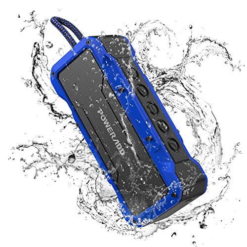 POWERADD Bluetooth Lautsprecher mit 4 StereoTreibern (2X13W+2x5W) 360 Grad Sound, Wasserdicht IPX7 Außen Lautsprecher Bluetooth 4.2/AUX Box, eingebaut 4000mAh powerbank, bis zu 24 Stunden Spielzeit
