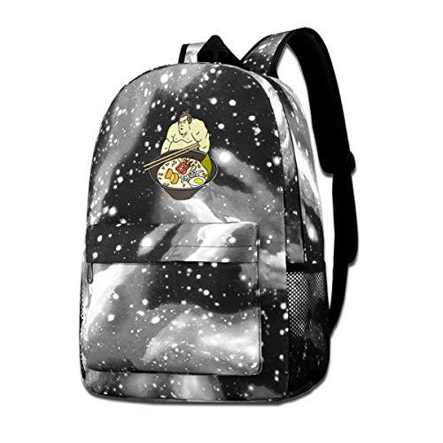 Sumo Ramen Backpack Travel Laptop Star Sky School Bookbags For Men Women