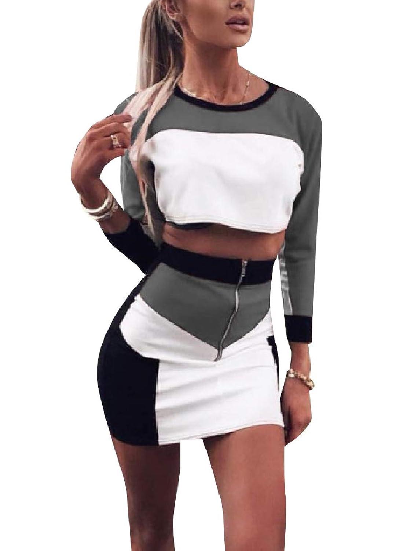 Kankanluck 女性のジップアップセクシーオーバーウエストスカートは、2ピースの服ドレスを設定