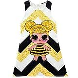 Kinder Mädchen Prinzessin Kleid Geburtstag Party Streifen Schmetterling Print Abend Rock Nachthemd Nachthemden (5, 140 (7-8 Jahre))