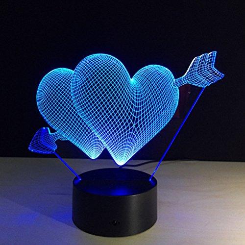 LEDMOMO - Lámparas de iluminación LED 3D óptica, colores cambian de luz nocturna con interruptor táctil y mando a distancia para dormitorio o decoración del hogar (flecha corazón)