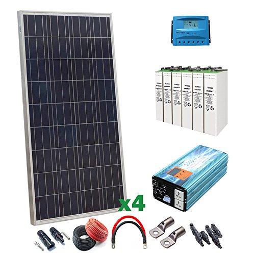 Kit Solar 12v 600W/3000W día Regulador de carga PWM 40A Batería 4TOPzS 458Ah Inversor 3000w onda pura con cargador de 50Ah