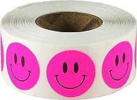 蛍光ピンクのハッピーフェイスステッカー, 19 mm 3/4 インチサークルラベル500パック