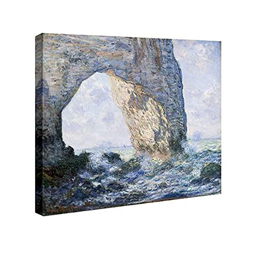 Wieco ArtMON-0001 –Reproducción del lienzo La Manneporte de Claude Monet, famosas pinturas al óleo–paisaje de mar, playa, fotos sobre lienzo, decoración de pared, arte para oficina
