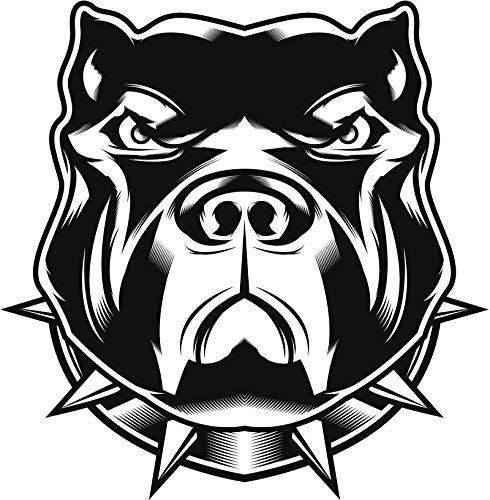EW Designs Tough Guard Dog Pitbull Bulldog with Spike Collar Cartoon Vinyl Decal Bumper Sticker (4' Tall)