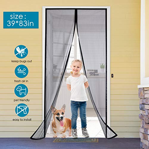 AURELIO TECH Magnetic Screen Door 39'' x 83'', Reinforced Self Closing Magnetic Seal and Full Frame Hook&Loop, Screen Mesh to Keep Bugs Out, Black, Pets and Kids Friendly