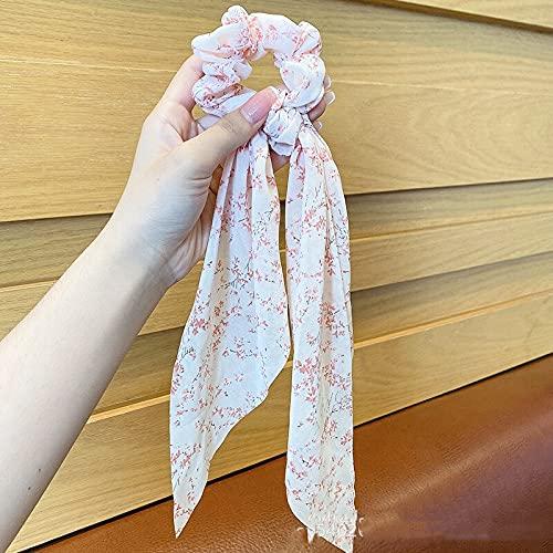 juntao Cinta elástica para el pelo de gasa con diseño floral para mujer, con lazos, para niñas, accesorios para el cabello (color ANH303)