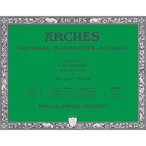 Arches 1711600 Aquarell Block, 20 Blatt Aquarellpapier in Naturweiß, 300g/m², hohe Farbechtheit, Alterungsbeständigkeit, Feinkorn, 28 x 36cm