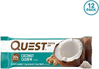 Quest Nutrition Coconut Cashew Protein Bar, High Protein, Low Carb, Gluten Free, Keto Friendly, 12 Count