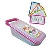 TENTA KITCHEN Good Grips Complete Grater & Slicer Set 4 in 1 Onion Chopper, Vegetable Slicer, Fruit and Cheese Cutter Container with Storage Lid (Pink)