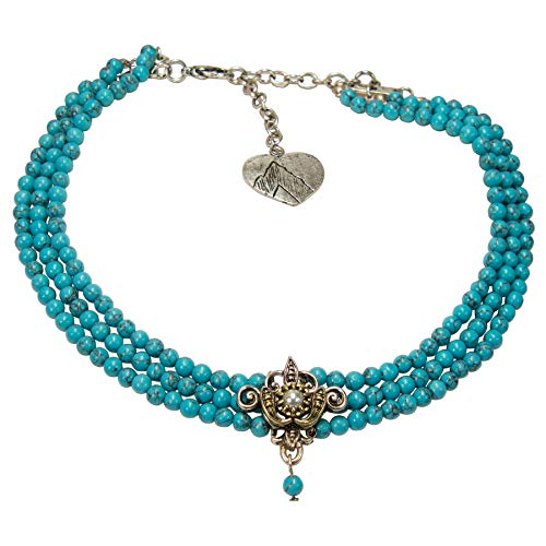 Alpenflüstern Trachten-Perlen-Kropfkette Lea - nostalgische Trachtenkette, eleganter Damen-Trachtenschmuck, Dirndlkette türkis DHK236