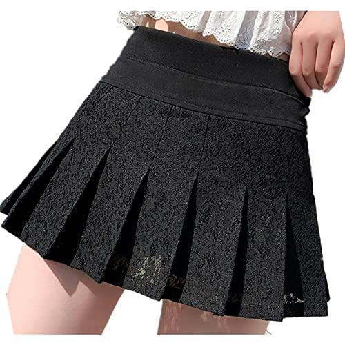 Estilo de verano Minifalda Mujeres De Cintura Alta Encaje Negro Blanco Dulce Lindo Estudiante
