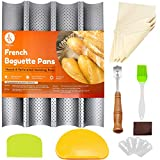 J&K Baguette Pans for Baking French Bread Nonstick Perforated 15' x 13' Italian Loaf Tray, Sourdough...