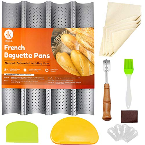 JampK Baguette Pans for Baking French Bread Nonstick Perforated 15quot x 13quot Italian Loaf Tray Sourdough Proof Rack 4 Wave Loaves Mold with Dough Proofing Couche Bread Lame Oil Brush amp 2 Dough Scrapers
