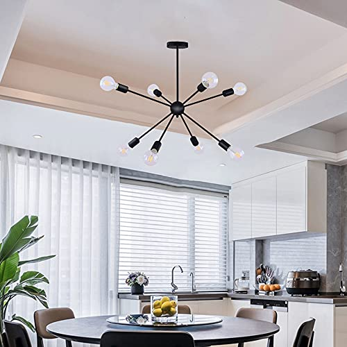 Generic Sputnik - Lámpara de araña, 8 luces, lámpara colgante moderna, industrial, vintage, color negro