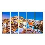 Bild auf Leinwand Panoramablick auf Oia Stadt Santorin