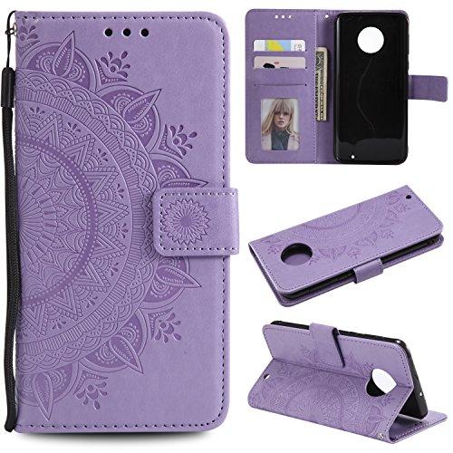 LODROC [Moto G6 Plus] Hülle, TPU Lederhülle Magnetische Schutzhülle [Kartenfach] [Standfunktion], Stoßfeste Tasche Kompatibel für Motorola Moto G6Plus - LOHH0501345 Violett