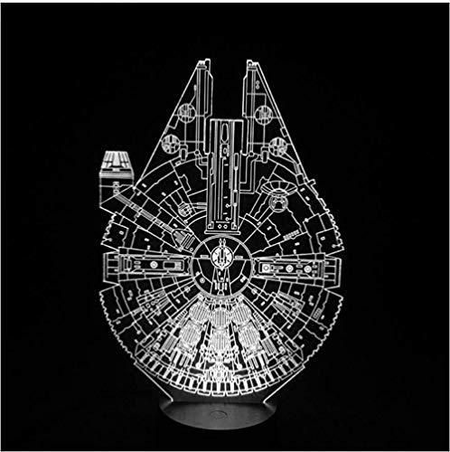 Star Wars Millennium Falcon 3D LED Luz nocturna 7Colorful Atmosphere Lámpara Novedad Iluminación