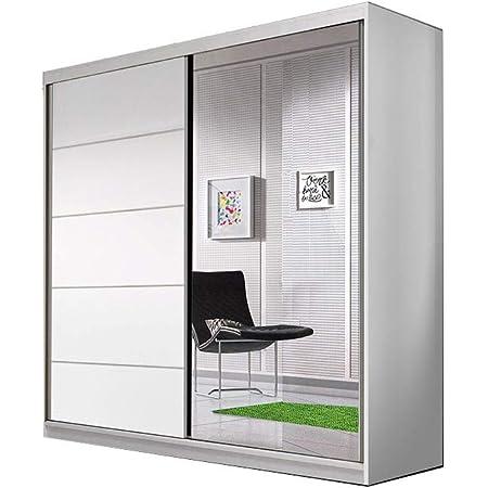 E-MEUBLES Armoire de Chambre avec 2 Portes coulissantes | Penderie (Tringle) avec étagères (LxHxP): 183x218x61 TESS BIS03 (Blanc)