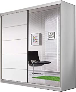 E-MEUBLES Armoire de Chambre avec 2 Portes coulissantes | Penderie (Tringle) avec étagères (LxHxP): 183x218x61 TESS BIS03...