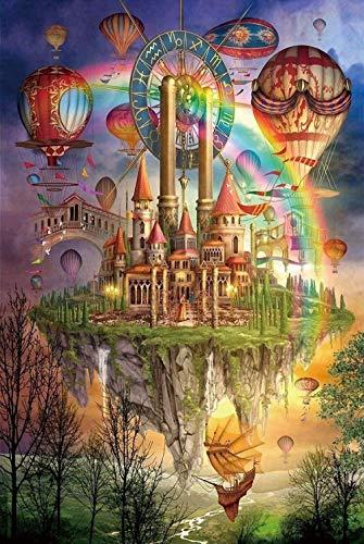 Puzzle de 1000 piezas de rompecabezas de madera Puzzles de madera Rompecabezas de madera castillo del arco iris globo de aire caliente regalo creativo para adultos rompecabezas de descompresión romp