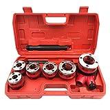 Herrajes de mano para hidráulicos en maletín de plástico. Rosca con rosca de 1/4'-3/8'-1/2'-3/4-1'-1 1/4', portaterrajas reversible, alargador para gato.